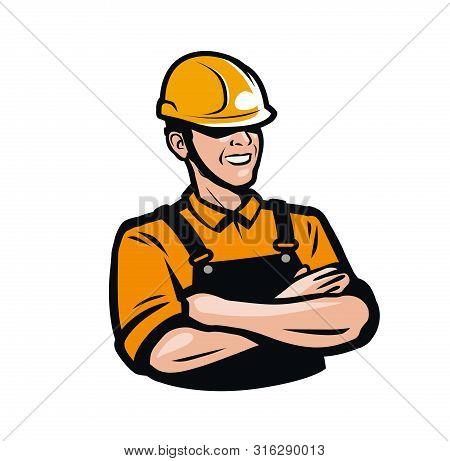 Builder Or Worker In Construction Helmet. Repair, Fix, Industry Logo. Vector Illustration