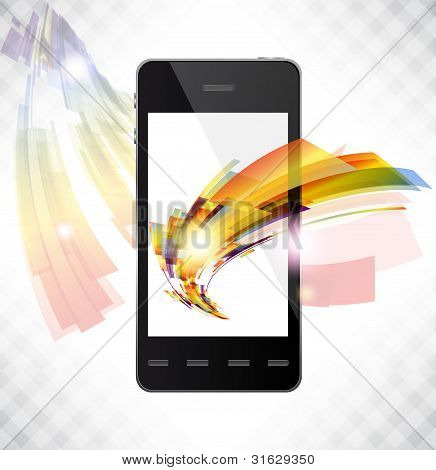 Realistic Mobile Vector Phone With Bright Lines