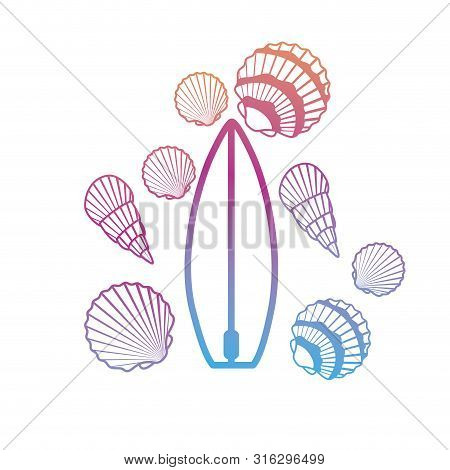 Silhouette Of Surfboard On White Background Vector Illustration Design