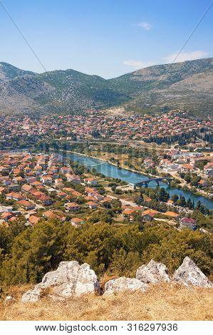 Summer View Of Trebinje City And Trebisnjica River From Crkvina Hill. Bosnia And Herzegovina, Republ