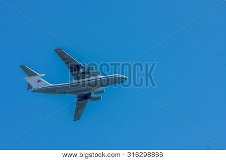 Moscow, Russia - May 09, 2014: Il-76 Is A Heavy Military Transport Aircraft, The Most Massive In The