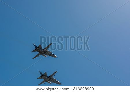 Moscow, Russia - May 09, 2014: Aviation Part Of Victory Parade 2014 In Moscow