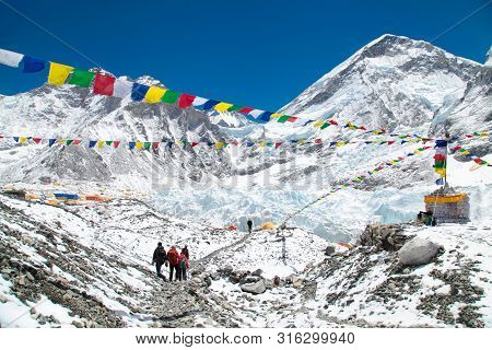 Mount Everest Base Camp, Khumbu Glacier And Mountains, Sagarmatha National Park, Trek To Everest Bas