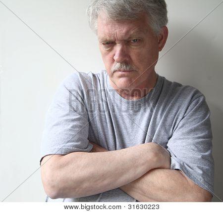 hostile senior man