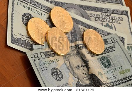 Gold Coins and Dollars
