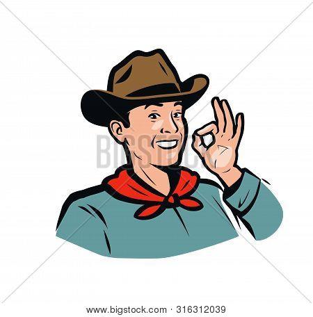 Portrait Of A Happy American Cowboy. Vector Illustration