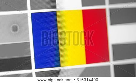 Romania National Flag Of Country. Romania Flag On The Display, A Digital Moire Effect. News Of Geogr