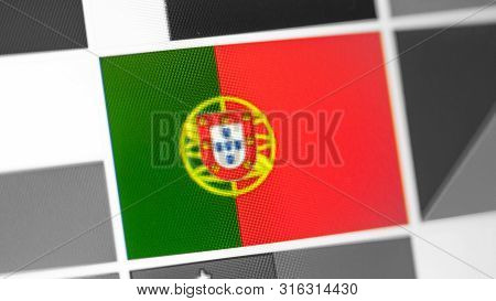 Portugal National Flag Of Country. Portugal Flag On The Display, A Digital Moire Effect. News Of Geo