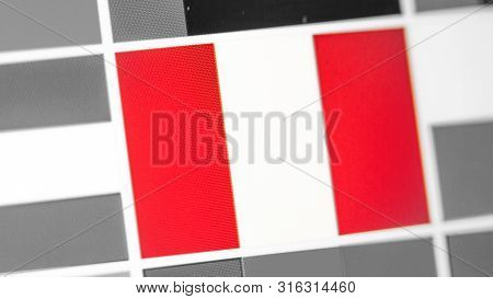 Peru National Flag Of Country. Peru Flag On The Display, A Digital Moire Effect. News Of Geography A