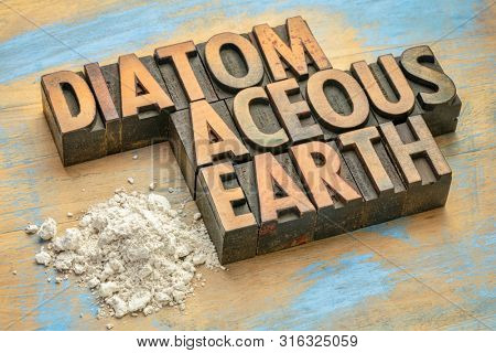 food grade diatomaceous earth supplement - small pile of powder on a grunge wood with a text in vintage letterpress wood type