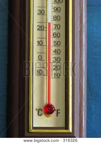 Thermometer Closeup In Comfort Range