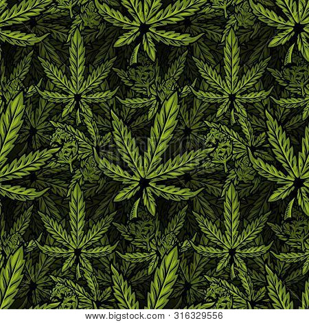 Seamless Textile Pattern With Natural Bio Eco Plant Leaves Of Marijuana, Cannabis, Weed, Hemp Cbd Oi