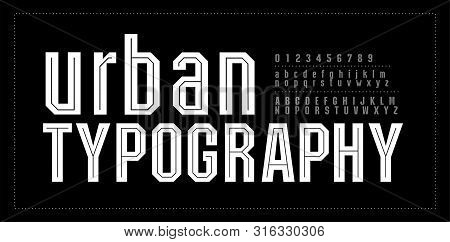 Urban Modern Alphabet Font Number. Typography Fonts Uppercase And Lowercase. College Simple Style. V