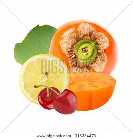 Fresh Persimmon With Lemon And Cherries Isolated On White Background