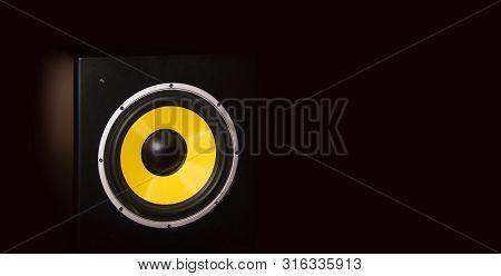 High Quality Loudspeaker Close On Dark Background.hifi Sound System For Sound Recording Studio.profe