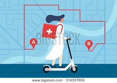 Medicine Deliver Pharmacy. Female Doctor Riding Electric Scooter With Medical Surgical Sanitary Box