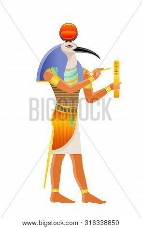 Ancient Egyptian God Thoth. Deity With Ibis Head. God Of Wisdom, Writing, Hieroglyphs, Science, Magi