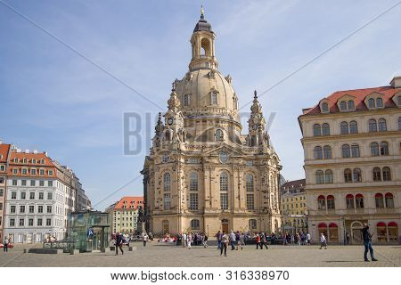 Dresden, Germany - April 29, 2018: View Of The Church Of The Virgin (frauenkirche) On A Sunny April