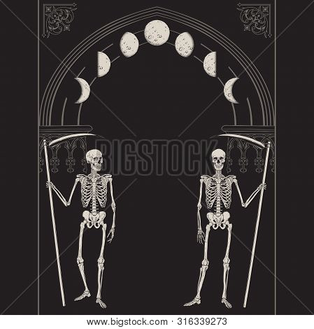 Grim Reapers With The Scythes In Front Of The Gothic Arch With Moon Vector Illustration. Hand Drawn
