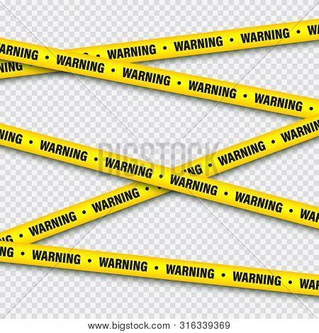 Yellow And Black Barricade Construction Tape. Police Warning Line. Brightly Colored Danger Or Hazard