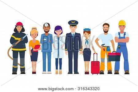 Group Of People Of Different Professions. Character Design Of Doctors, Pilot And Stewardess, Builder