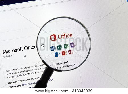 Montreal, Canada - July 13, 2019: Microsoft Office 365 Installation Process On A Laptop Screen. Offi