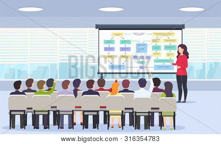 Business Person Teaches A Lecture On Business Strategy, E-commerce And Marketing For A Sitting Audie