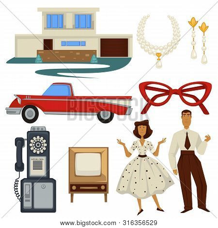 1950s Fashion Style And Architecture, Epoch Symbols, Technology And Car