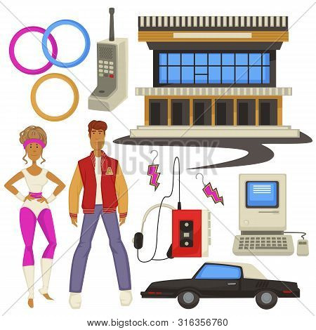 1980s Style Fashion And Technologies, Epoch Symbols, Man And Woman