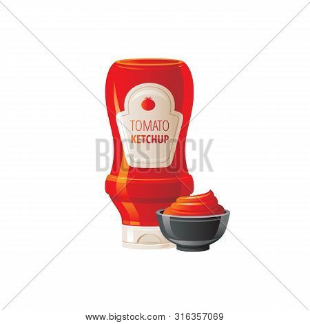 Tomato Ketchup Sauce. Hot Sauce Bottle With Bowl. Food Icons With Text Logo Packaging, Label Mock Up