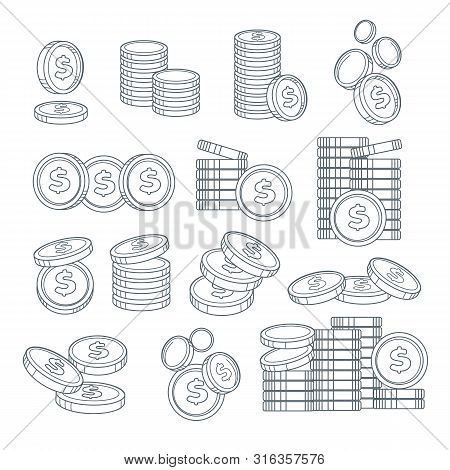 Coin Stacks Or Pennies Isolated Sketches, Banking Business, Cash