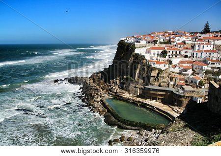 Azenhas Do Mar, Sintra, Lisbon, Portugal- March 19, 2019: Beautiful Azenhas Do Mar Village Perspecti