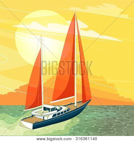 Sailing Ship At Sunset Banner In Cartoon Style. Top View Sail Boat On Deep Blue Sea Water. Luxury Ya
