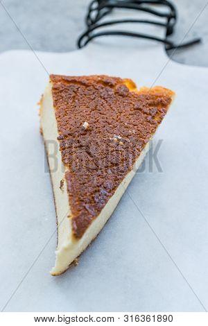Ricotta Cheesecake Slice Close Up Macro View.