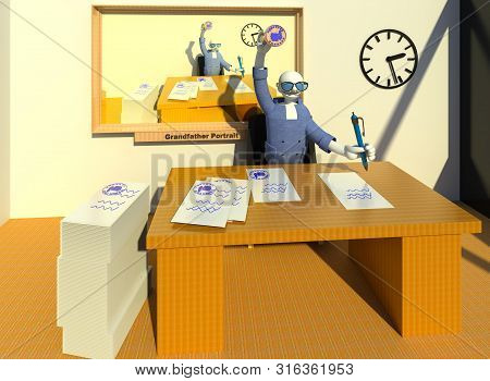 Hereditary Bureaucracy. A Patrimonial Bureaucrat Character Happily Making Stamps On Documents Under