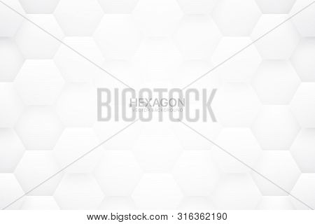 3d Vector Technologic Hexagonal Blocks White Abstract Background. Scientific Tech Hexagon Grid Patte
