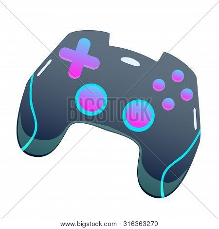Dark Color Gamepad, Flat Vector Joypad, Modern Design Isolated Illustration With Pink And Blue Color