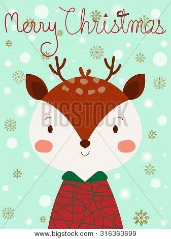 Cute Smiling Face Reindeer Look So Sweet On Pastel Blue Sky Background. Lovely Christmas Reindeer Wi