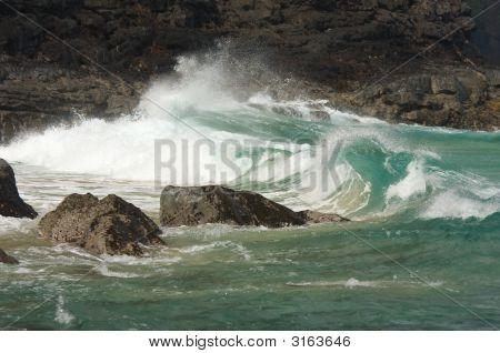 Waves Crashing On The Na Pali Coast
