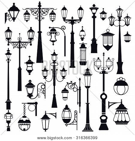 Streetlight, Outdoor Street And Park Lanterns, Isolated Objects