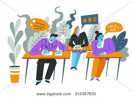 Children In Class, High School Lesson, Algebra Test