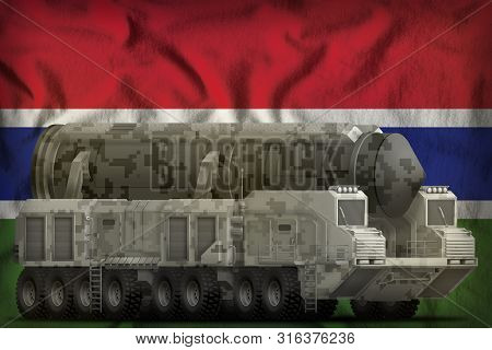intercontinental ballistic missile with city camouflage on the Gambia flag background. 3d Illustration poster