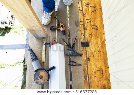 Construction Tools Angle Grinder, Angle Measuring Ruler, Pliers, Iron Scissors, Drill, Tape Measure.