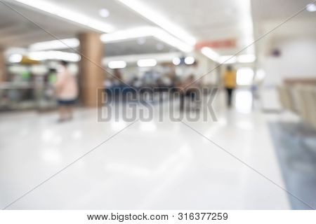 Medical Blur Background Patient Service Counter, Hospital Lobby, Cashier And Pharmacy Dispensary Cou