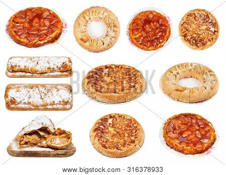 Collection Of Various Apple Pies (charlotte Apple Cakes, Apple Strudel, Tarte Tatin) Isolated On Whi