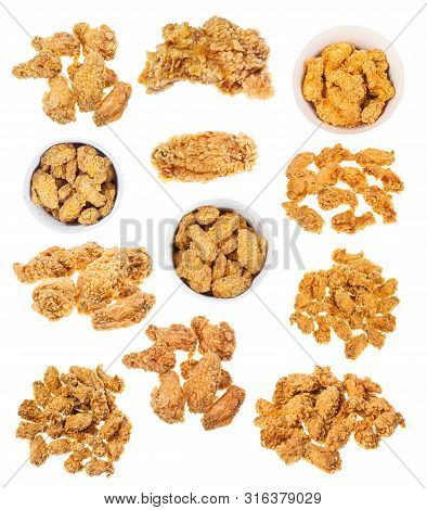 Collection Of Hot Fried Spicy Breaded Chicken Wings Isolated White Background