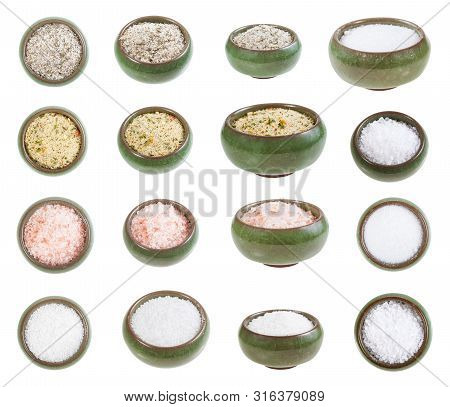 Collection From Ceramic Salt Cellar With Various Salts Isolated On White Background