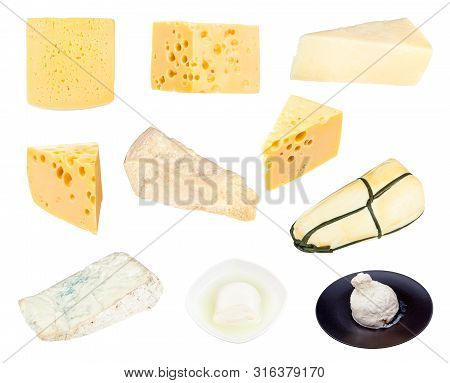 Collection Of Various Cheeses Isolated On White Background