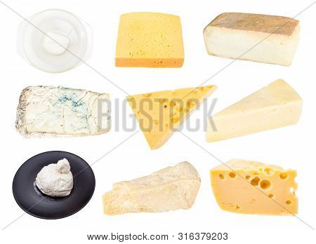 Collage From Various Cheeses Isolated On White Background