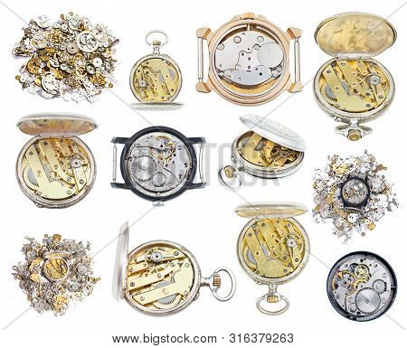 Collection Of Old Retro Wathes And Clock Parts Isolated On White Background